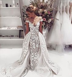 A showstopper! The detailing in this gown is just incredible, just imagine walking down the aisle in this dress by @BERTA