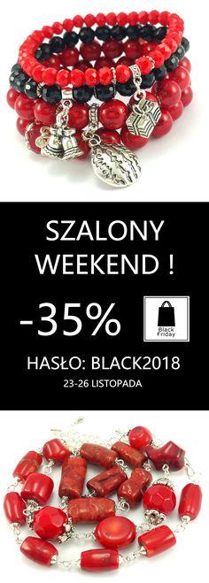 Szalony Weekend trwa już od Czarnego piątku aż do Cyberponiedziałku ze zniżką -35 % na hasło w koszyku: BLACK2018 To wyśmienita okazja, by kupić sobie coś pięknego  lub pomyśleć o prezentach dla bliskich na mikołajki ecobizuteria.pl #black #weekend #blackfriday #cybermonday #sale #wyprzedaż #zniżki #ecobizuteriapl #bizuteria #bransoletka #bransoletki #prezent #prezenty #kobieta #polishgirl #polishwoman #handmade #jewellery #bizu #polskadziewczyna #zakupy #rękodzieło #polskamarka #shopping #sklep Beaded Bracelets, Jewelry, Jewlery, Jewerly, Pearl Bracelets, Schmuck, Jewels, Jewelery, Fine Jewelry