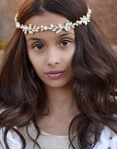 gold or silver crystal rhinestone headpiece with pearls