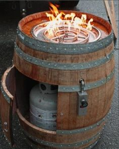Wine barrel cooktop.