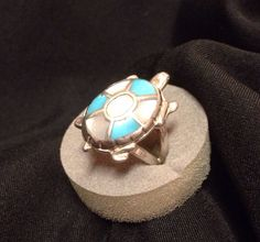 Vintage Navajo turquoise and mother of pearl ladies girls turtle 925 sterling silver ring Size 7 on Etsy, $47.00