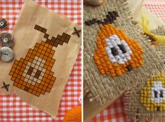 Cross stitch pears on burlap. By Handwerkjuffie. She used these as gift tags or labels, but I can also see them strung together to make a pretty fall garland. She used interfacing on the back to make the burlap stiffer.