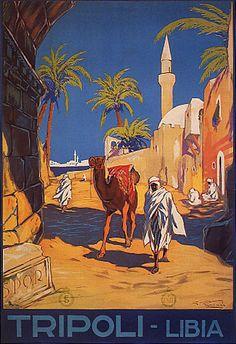 EUROPE TRIPOLI LIBYA TRAVEL TOURISM ARAB MAN CAMEL VINTAGE POSTER REPRO LARGE | eBay