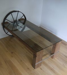 Reclaimed Wood and Glass Coffee Table.  Barn Wood by Ticino Design www.ticinodesign.com