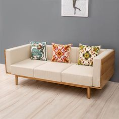 The size of the apartment living room furniture sofa fabric sofa modern minimalist Scandinavian trio of solid wood sofa