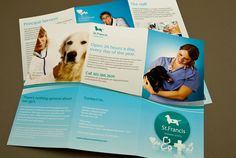Veterinary Brochure Template.  This brochure is appropriate for a veterinary office passionate about providing care to all animals. The brochure interior provides sufficient space to describe services offered and specialists on staff. The medical industry is reflected in the blue palette. #inkd #customize #design