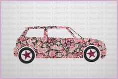 Voiture Liberty Appliqué Thermocollants Liberty à Repasser Voiture Mini Patch Liberty Chive Pink et Tissus Pailletés Noir et Rose de la boutique SublimeLiberty sur Etsy