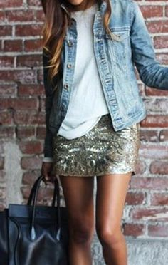 casual and elegant - denim jacket + white tee + sequin skirt. love sparkle mixed into casual for daytime summer fun