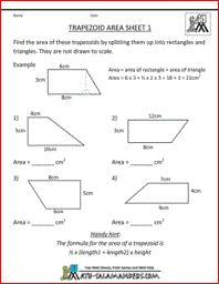 Trapezoid Area Worksheet, printable shape worksheets 5th grade