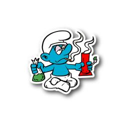 Cartoon Blue Creature Smoking Pot With Bong And Weed Vinyl Sticker Weed Stickers, Tumblr Stickers, Clear Stickers, Marijuana Art, Cannabis, Cartoon Pics, Cartoon Art, Cartoon Drawings, Cartoon Smoke