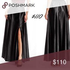 💃🏾Black Vegan Leather Full Zip Maxi Skirt 💃🏾 Long black 100% Polyurethane Maxi with full zip split and pockets. TOV Skirts Maxi