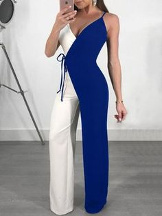 8ce7a7a68a6 Shop Contrast Color Spaghetti Strap Wrapped Wide Leg Jumpsuit – Discover  sexy women fashion at IVRose