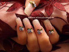Nail art motivo 160 - Flores ceramicas y polvo en rojo - http://www.schmucknaegel.de/