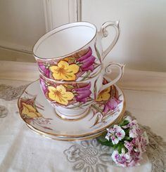 Vintage Queen Anne China Teacup and Saucer. by VerasTreasures, £22.50