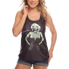 Black Marilyn Monroe Zombie Print Casual Tank Top ($12) ❤ liked on Polyvore featuring tops, black, print tank top, print top, scoop neck top, scoop neck tank and racerback tank