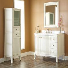 Antique white bathroom floor cabinet