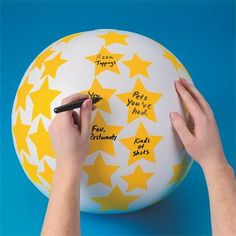 Make your own conversation ball! Write any question you can think of on a ball, then get in a circle and toss it around. Whoever catches it has to answer the question under their right thumb. Great icebreaker!
