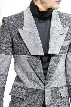 Deconstructed jacket with sliced lapels & contrasting panels; sewing; creative pattern cutting // Junn J Spring 2012