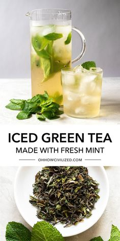 This delicious green tea recipe from Oh, How Civilized is perfect for drinking anytime. This tea drink features a cool and refreshing iced green tea brightened with fresh mint. There are two essential things that make the best iced green tea and it'll completely change the way you make iced tea! #icedtea #greentea #tea #easyrecipe Loose Green Tea, Best Green Tea, Green Tea Recipes, Iced Tea Recipes, Green Tea Drinks, Summer Drinks, Making Iced Tea, Peach Ice Tea, Tea Sandwiches