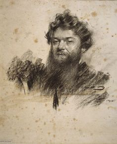 Portrait of Charles Cottet (Ramon Casas y Carbó - ) Fine Art Drawing, Guy Drawing, Life Drawing, Art Drawings, Art Sketches, Spanish Painters, Spanish Artists, Ramones, Charcoal Portraits