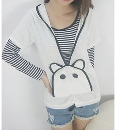 Relaxed Cartoon Hooded Coat + Striped T-Shirt Twinset At Price 6.90 - DressLily.com.Sooo cute I want it!
