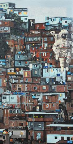 Miguel Valiñas Otero    Exploración Favela   2011   Óleo sobre madera   40 x 80 cm