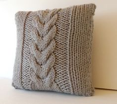 16x16 Hand knitted Chunky Accent Pillow PICK your by Vivamamere