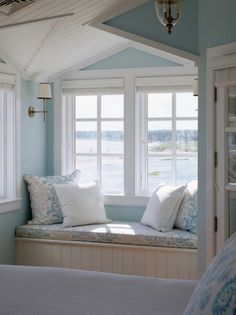 Are you longing for a beach getaway? This window seat is the perfect spot to spend a dreamy afternoon. I have always wanted a home with a window seat with a great view! Beach House Tour, Beach House Decor, Summer House Decor, Pale Blue Paints, Cottages By The Sea, Beach Cottages, Beach Houses, Tiny Cottages, Beach Cottage Style