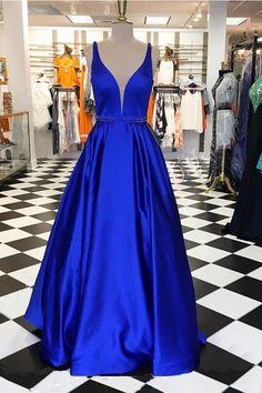 Royal blue satin prom dress, v-neck prom dress, ball gown 2017