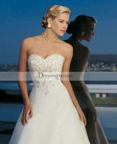 Gorgeous A-Line/Princess Sweetheart Chapel Embroidery Satin Wedding Dresses (WDA1805)