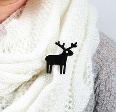Black Reindeer BroochPlexiglass JewelryLasercut by bugga on Etsy