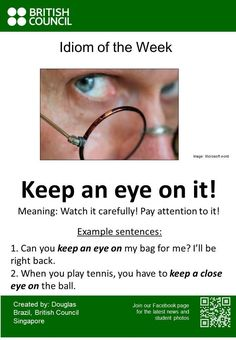 """#Idiom of the Week: 'Keep an eye on it! ' Find out more: https://t.co/YGALyr75cQ #ESL #EFL"""
