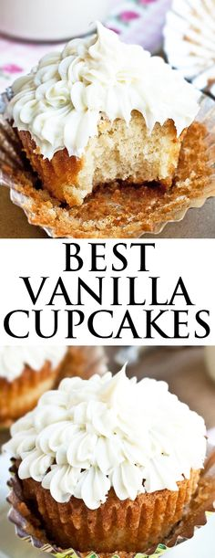 This easy VANILLA CUPCAKES recipe from scratch is made with simple ingredients. They are super soft, moist and fluffy with intense vanilla flavor! Best Vanilla Cupcake Recipe, Easy Vanilla Cupcakes, Simple Cupcake Recipe, Mocha Cupcakes, Butter Cupcakes, Gourmet Cupcakes, Strawberry Cupcakes, Flower Cupcakes, Velvet Cupcakes