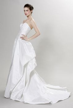 Sweeping Train Sweetheart Ruffled Satin Taffeta Wedding Dress #gorgeous_wedding_dress #white_wedding_dress #elegant_wedding_dress