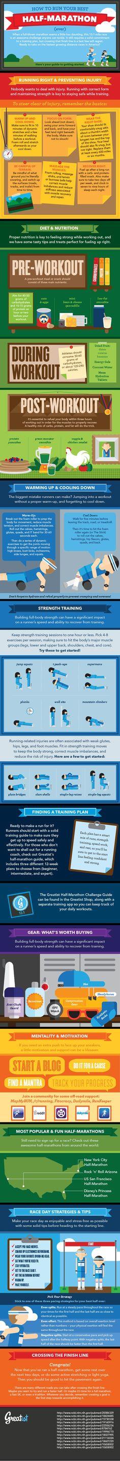 How to Run Your Best Half-Marathon Ever Infographic #halfmarathon #running #fitness