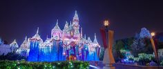 Sleeping Beauty Castle with Christmas lights near trees and a bridge