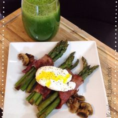 LaterGram of breakfast.  I'm going through an asparagus phase lol...mushrooms cooked in ghee, applegate turkey bacon wrapped asparagus, poached egg, and a #greenJuice.  https://www.facebook.com/TeamJERF