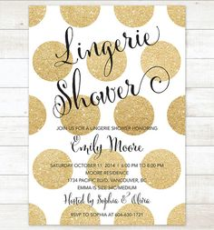 black and gold lingerie shower invitation black and gold glitter polka dots printable modern lingerie party digital invite customizable Lingerie Shower Invitations, Lingerie Party, Save The Date Invitations, Digital Invitations, Invites, Best Friend Wedding, Our Wedding, Gold Bridal Showers, Wedding Showers
