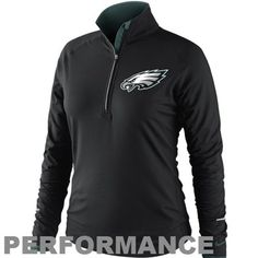 Nike Philadelphia Eagles Ladies Conversion Half Zip Performance Jacket - Black