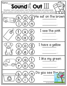 Sound it out, dot the sounds, write the word and read the simple sentence!