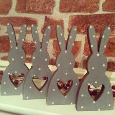 More cute wooden bunnies made by us, the Pear Tree www.thepeartree.moonfruit.com Thepeartree@live.co.uk