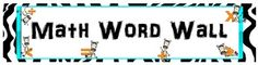 Use this FREE zebra theme banner to turn a plain old bulletin board into a fun, colorful Math Word Wall.