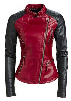 Women Red Leather Jacket New 100% Genuine Lambskin Slim Winter Motor Biker W 98