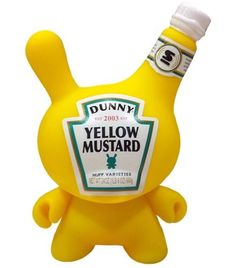 Mustard Dunny - SDCC 2010 figure by Sket One, produced by Kidrobot. Front view.
