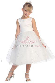 White Sleeveless Satin Bodice Tull Skirt with Sparkles T5602-WT T5602-WT $55.99 on www.GirlsDressLine.Com