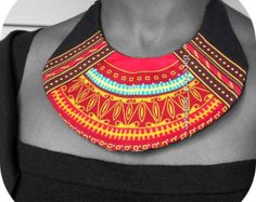 African wax Bib necklace, OOAK African neckwear, Unique statement neck cuff, One of a Kind African Patchwork Collar, B Modiste Handmade
