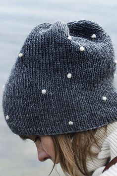 Beanie is knitted, but I'm pinning for inspiration because I love the little white dots.