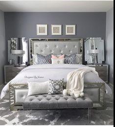Silver And Grey Bedroom, Silver Bedroom Decor, Room Ideas Bedroom, Home Decor Bedroom, Diva Bedroom Set, Stylish Bedroom, Classy Teen Bedroom, Classy Bedroom Decor, Glam Bedroom