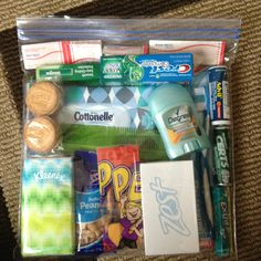 Blessing bag- give to someone in need. I don't like to give money so instead of running to get them some fast food I can hand them a blessing bag full of of goods.