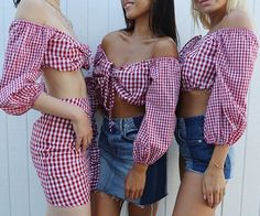 Instagram media by revolve - gingham gang  @loversfriendsla #revolveinthehamptons Instagram Life, Spring Summer Fashion, Gingham, Off Shoulder Blouse, Tops, Women, Style, Passion, Swag